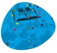 pictogramme avec livre et assemblée d'un colloque